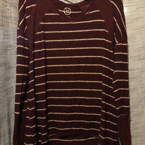 Maurices Maroon and White Striped Long Sleeve Tee